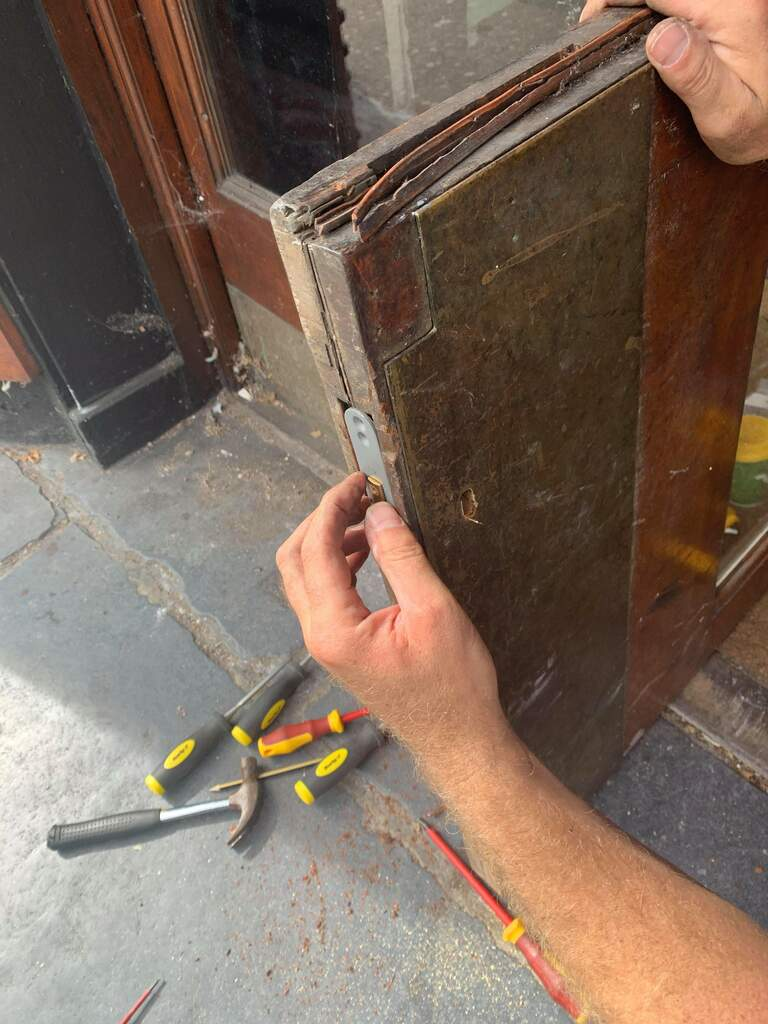 Casino doors open and replace down facing mortice lock